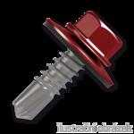 Šroub samovrtný (farmářský) 4,8x35 s podložkou EPDM (RAL 3011) červená