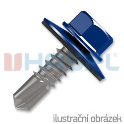 Šroub samovrtný (farmářský) 4,8x20 s podložkou EPDM (RAL 5010) modrá