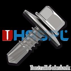Šroub samovrtný (farmářský) 4,8x20 s podložkou EPDM (RAL 9006) bílý hliník
