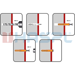 Hmoždinka natloukací 6x55mm hříbková, nylon - 2