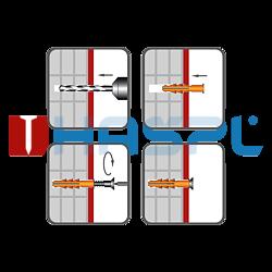 Hmoždinka rámová RMS 10x140mm, nylon+vrut se šestihran.hlavou - 2