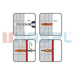 Hmoždinka uzlovací s lemem UHL 10x61mm, polyethylen - 2