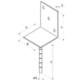 Patka kotevní do betonu Typ L 100x80x4,0 - 3/3