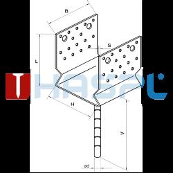 Patka kotevní do betonu Typ U 120x120x4,0 s prolisem - 3