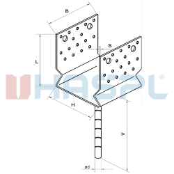 Patka kotevní do betonu Typ U 100x80x4,0 s prolisem - 3