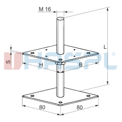 Patka pilíře 80x80x160x4,0 M16 - 3