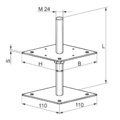 Patka pilíře 80x80x330x4,0 M24 - 3/3